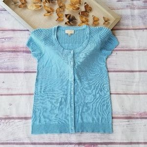 Modcloth Blue Pointelle Short Sleeve Cardigan S